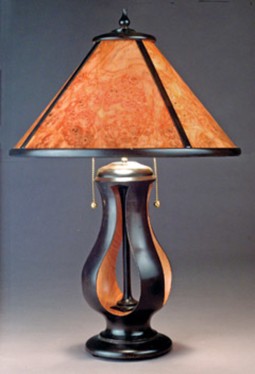 James Eddy produces custom wooden lamps, using North American hardwoods for the bases and veneers for the shades.