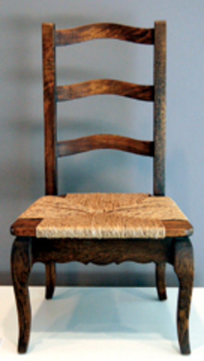 "Pecan and rush were used for this ""La Louisiane Child's Chair."""