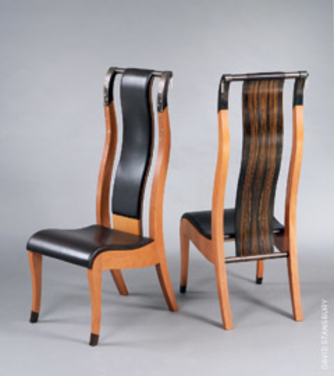 "Chairs by Wendy Stayman, part of the ""Furniture Divas"" exhibit at the Fuller Craft Museum."
