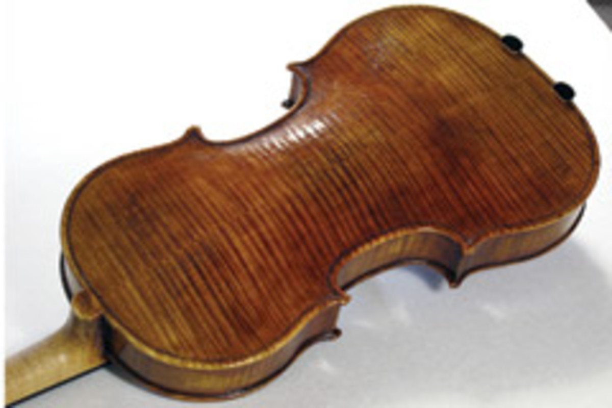 Coppiardi created this replica of a Golden Period Stradivarius violin using spruce and maple, and finished it with a homemade varnish formula he created by mixing melted resins with linseed oil.