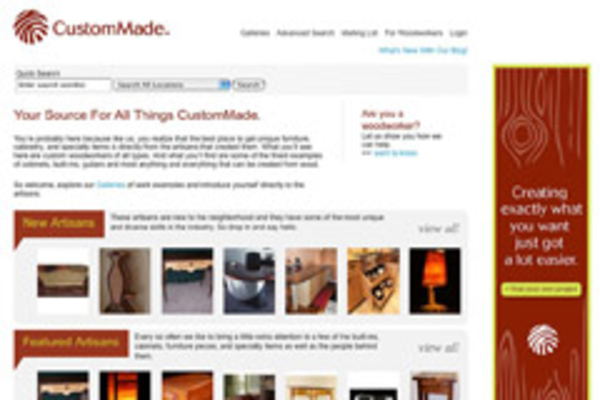 The home page of CustomMade.com