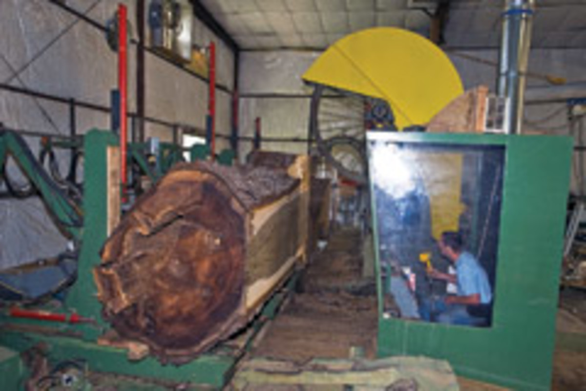 "Hearne Hardwoods in Oxford, Pa., purchased a 1904 Fay & Egan band mill from the Philadelphia Navy Yard, then spent two years updating and rebuilding it. It has a massive 67"" cutting capacity."