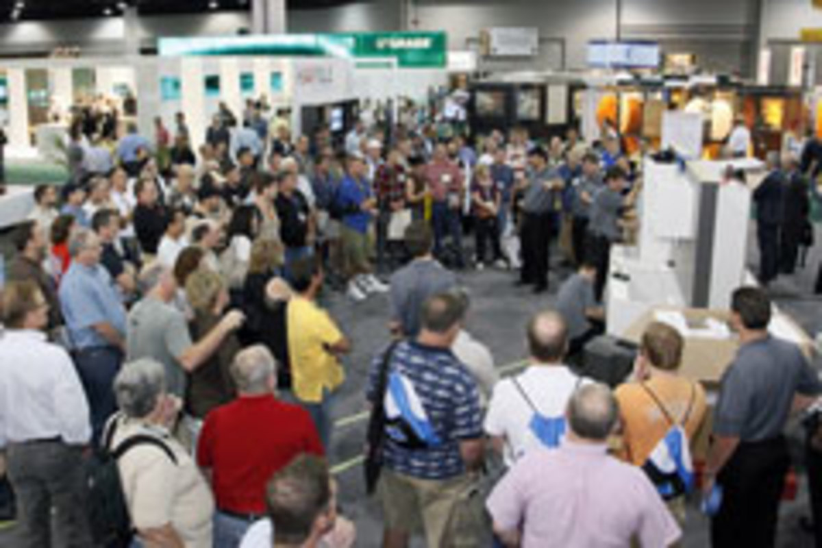 The Hafele booth also drew a large crowd with its cabinet installation demonstration.