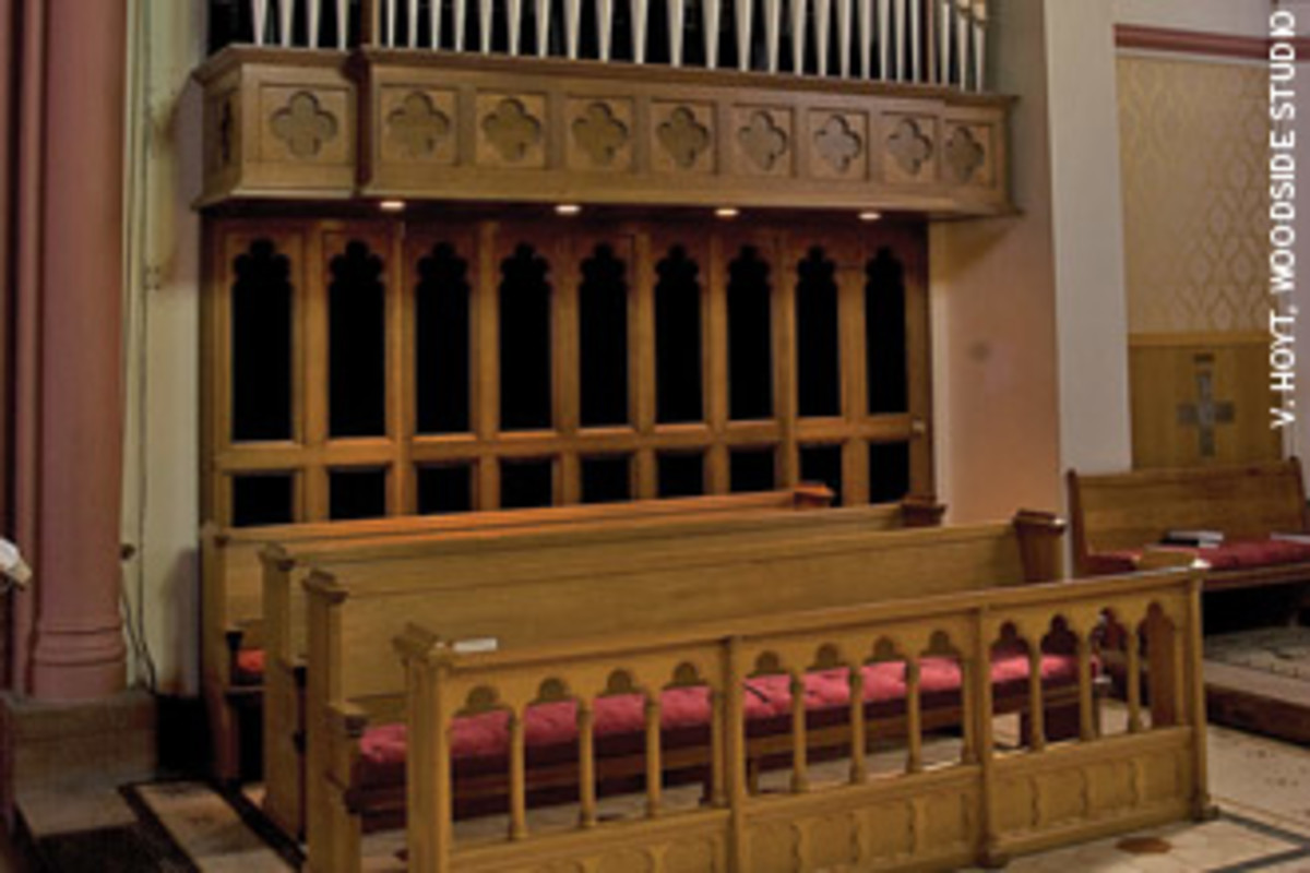 Austin Organs built this organ in 1999 for St. John's Episcopal Church in Northampton, Mass., which features white oak casework.