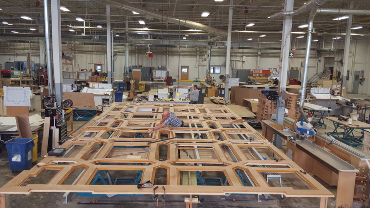 Production of a large coffered ceiling at MRW.