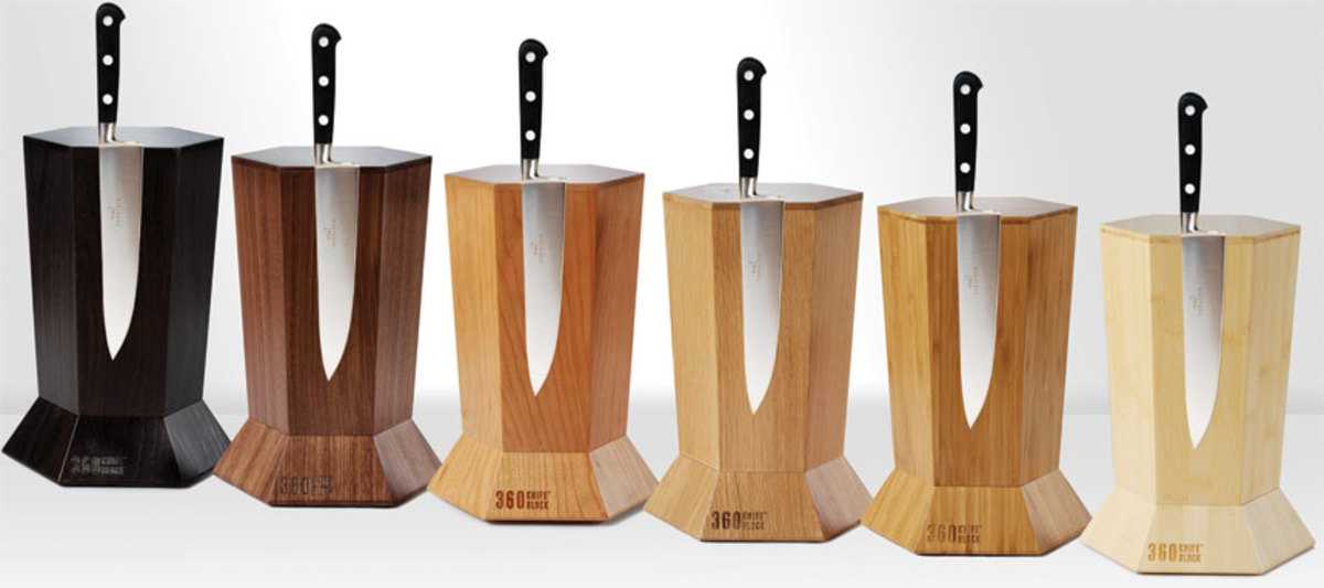 Design Tifecta's 360 knife blocks are available in several wood species.