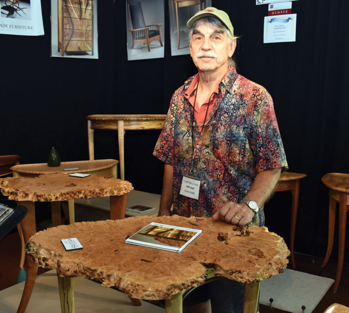 Jeff Lind exhibiting at the League of New Hampshire Craftsmen's Fair.