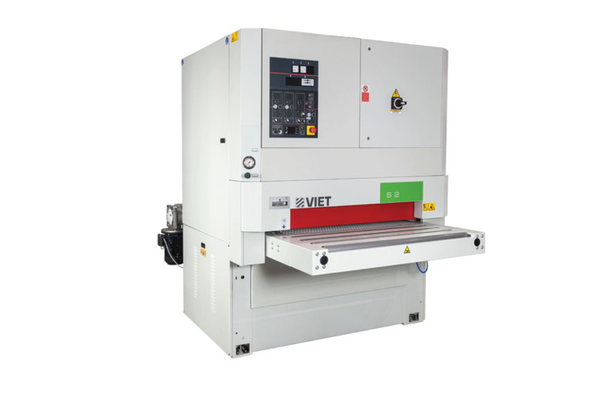 "Viet, available from Biesse, introduces the new S2 321 HRK planer/sander to the North American market. It features an eight spiral knife head with four-sided replaceable inserts and 43"" working width."