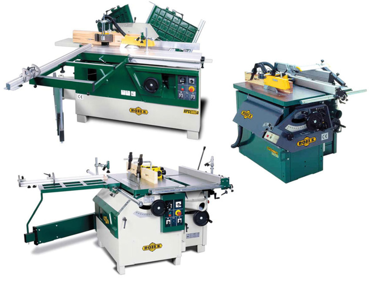Rojek's (clockwise, from top left) KPF 300A saw/shaper; KPS 400 5-in-1 combination  machine, and KP300V saw/shaper.