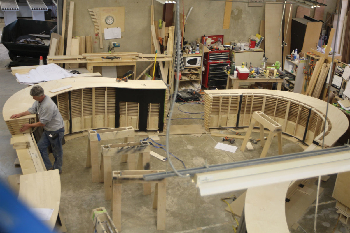 Mike Pullens works on a bar project at Jefferson Millwork.