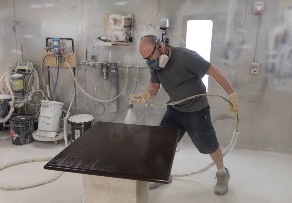 Steven Day in the spray booth.