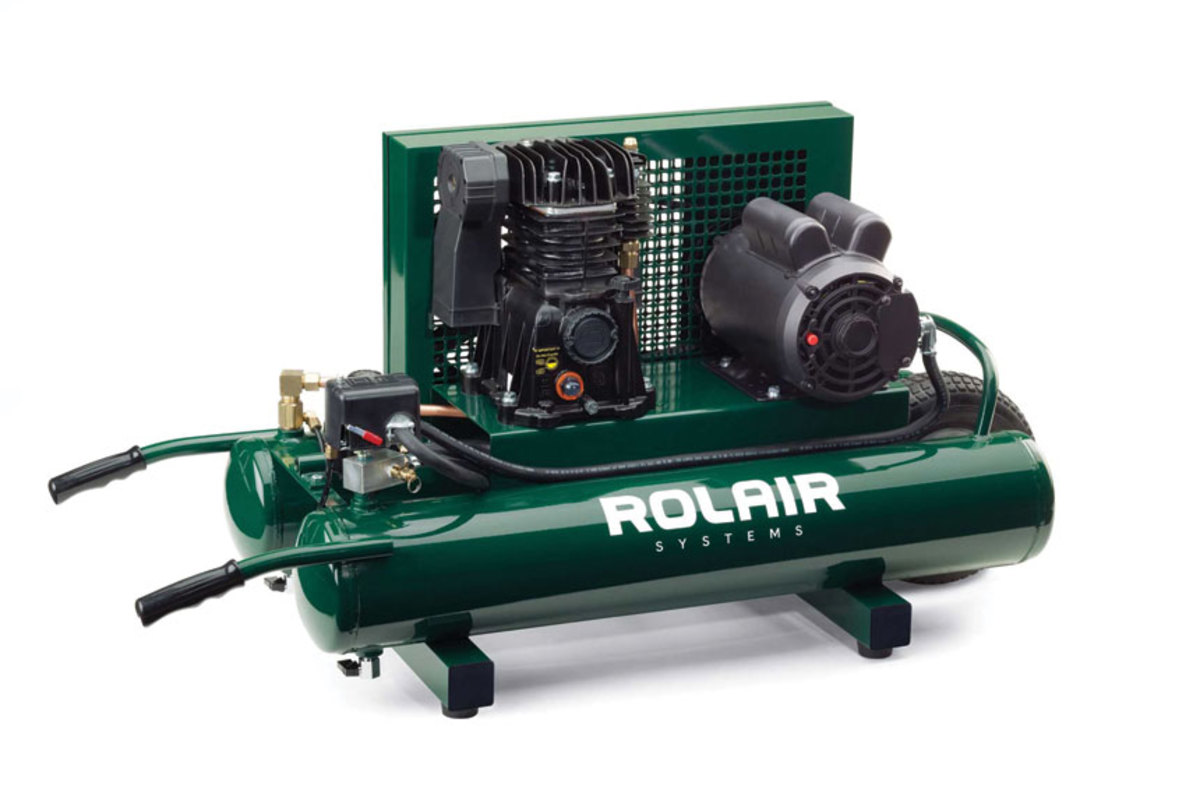 Rolair's constant speed model 5715MK103 and Mi-T-M's new 30-gallon diesel compressor (right), model ABS-9KD-30H.