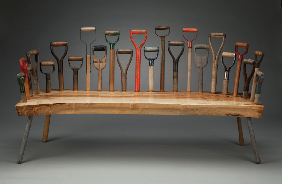 Two examples of Tom Loeser's furniture on display at the Museum of Craft and Design.
