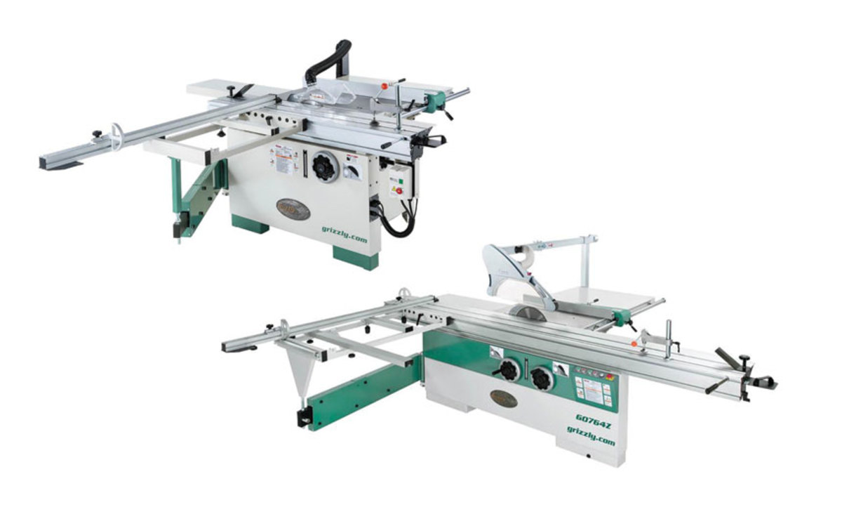 "Grizzly's new 12"" (top) and 14"" sliding table saws."