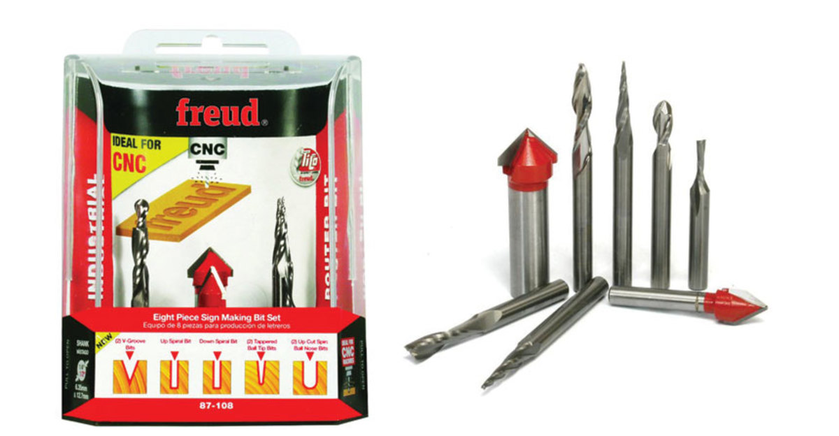 The CNC router bit sign making set from Freud Tools, model 87-108.