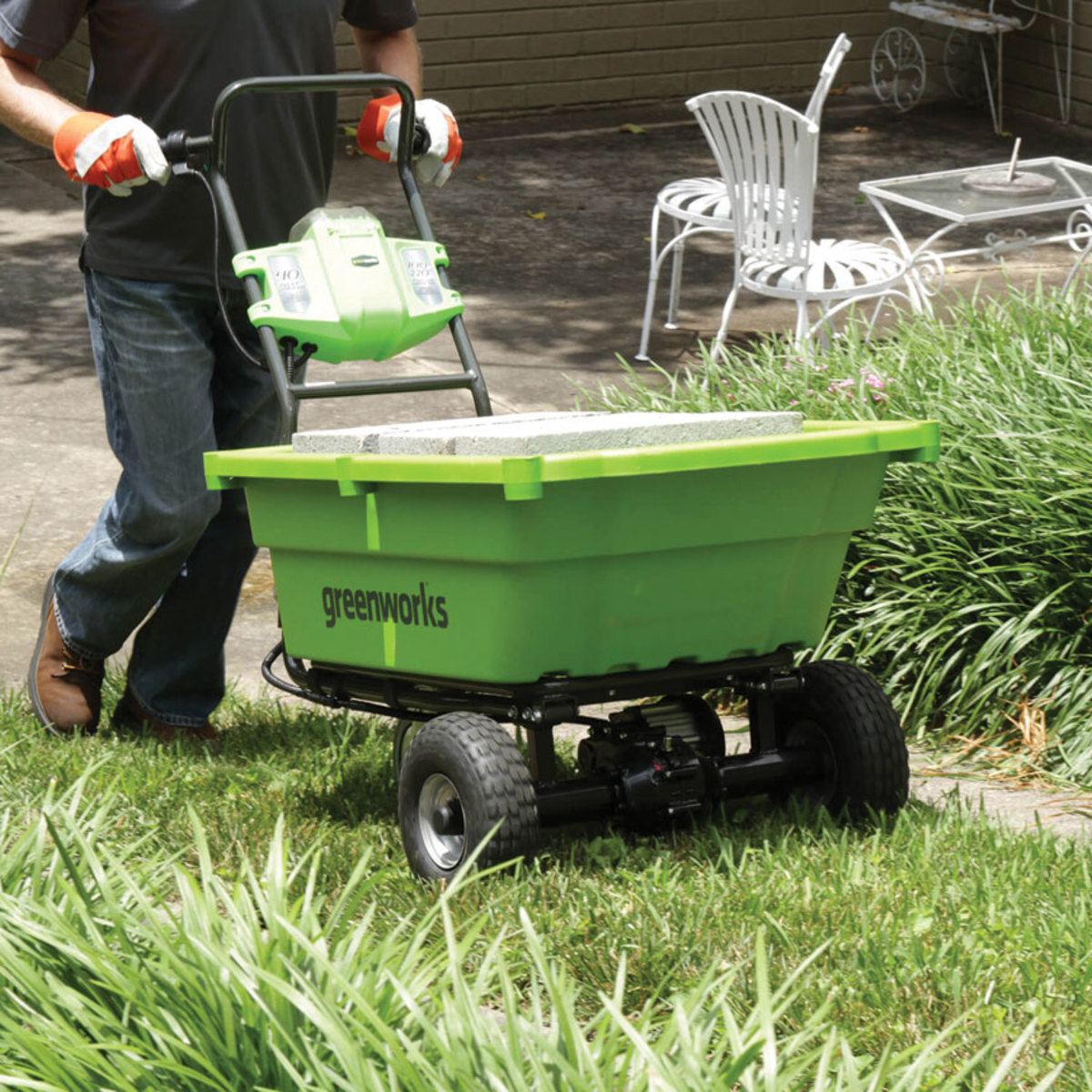 A battery-powered wheelbarrow from Greenworks Tools.