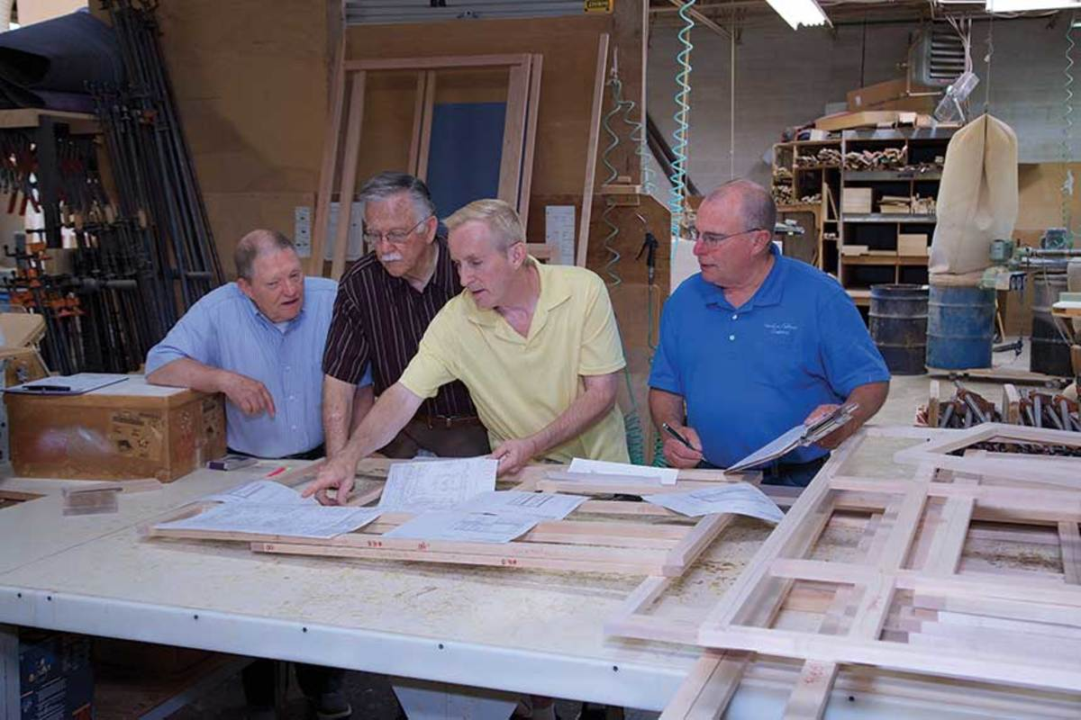 The team at Watkins Cabinet Co. includes Rudy Day, Rick Thomas and Frank Watkins (pictured on opposite page), finishers and assemblers.