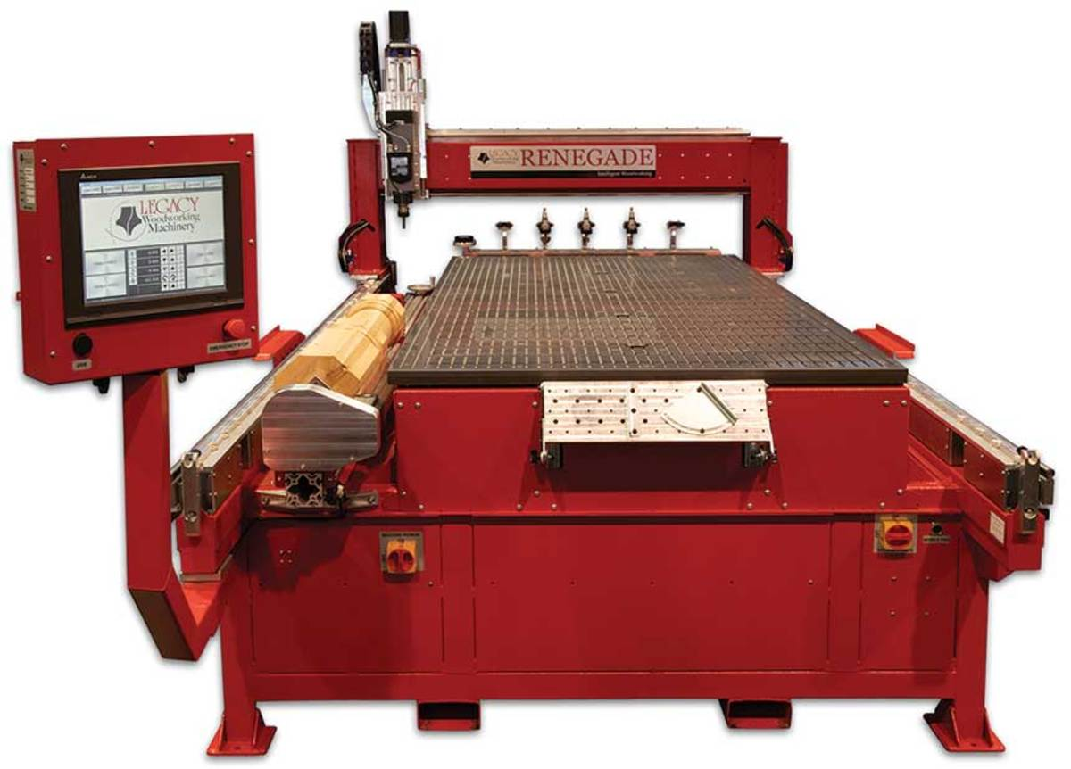 The Renegade features three work stations for panel processing, turning and joinery.