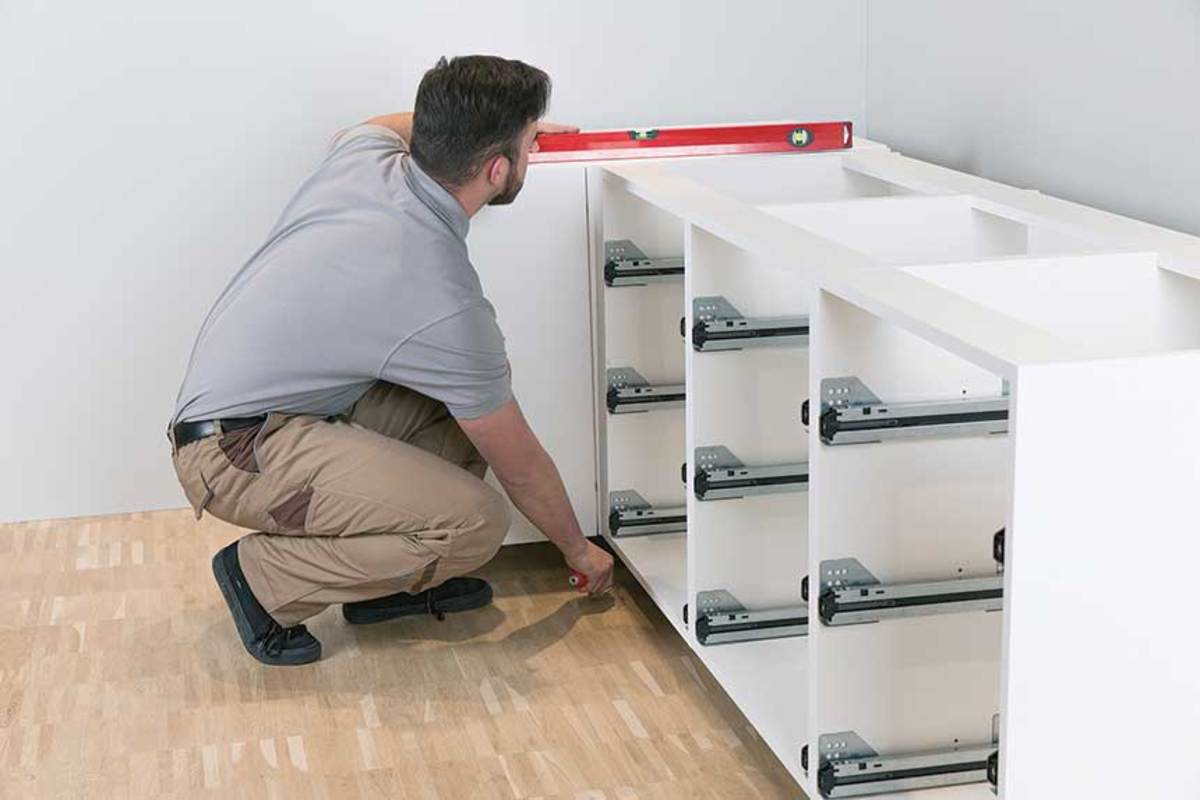 The Axilo 78 from Häfele allows installers to easily adjust the height of base cabinets.
