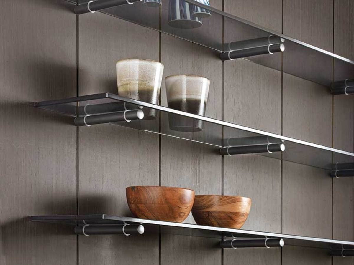 Salice's Pin system can be used to support shelves and knives (below).