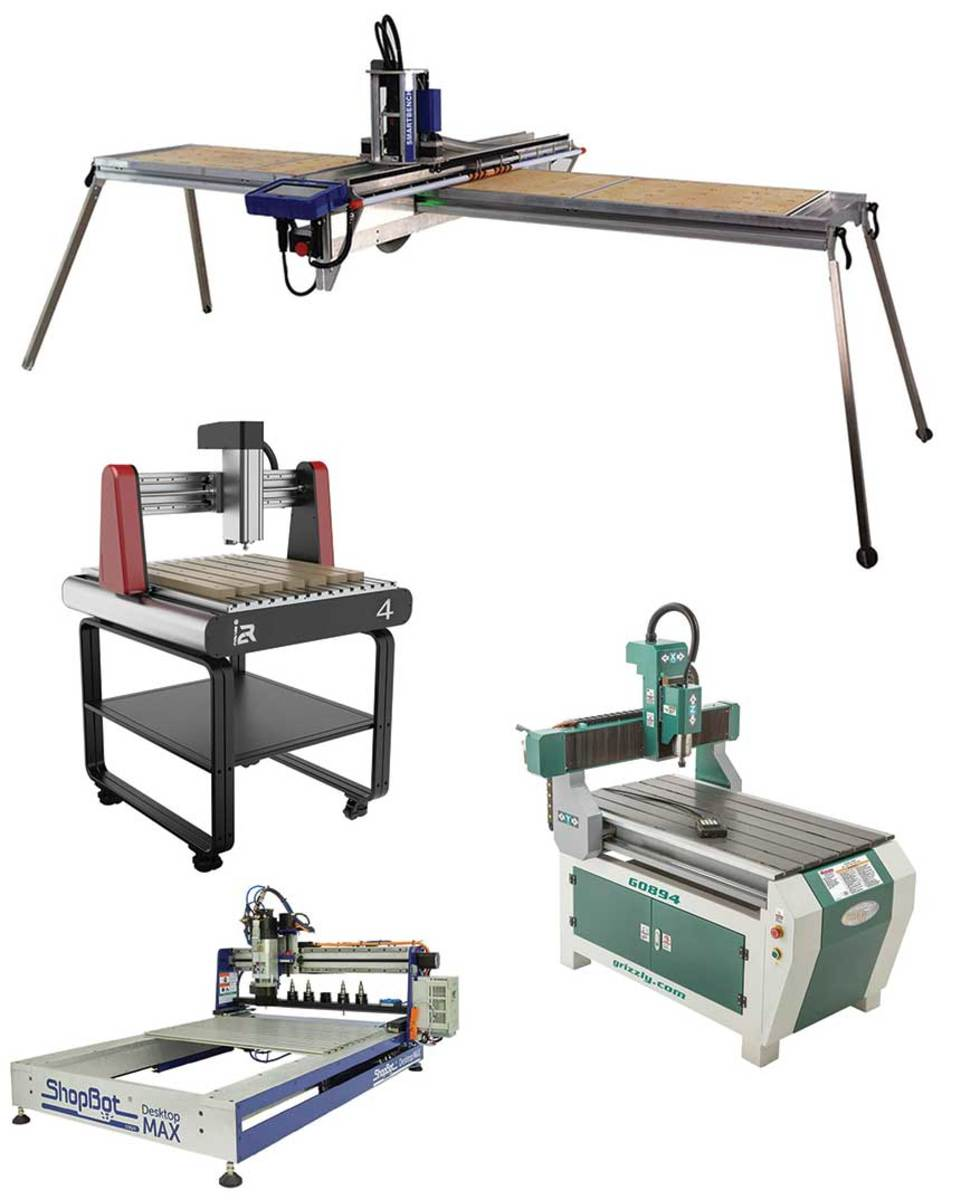 """(Clockwise from top) Yeti Smartbench; Grizzly model G0894; ShopBot Desktop Max, and i2R 4 with a 24"""" table."""