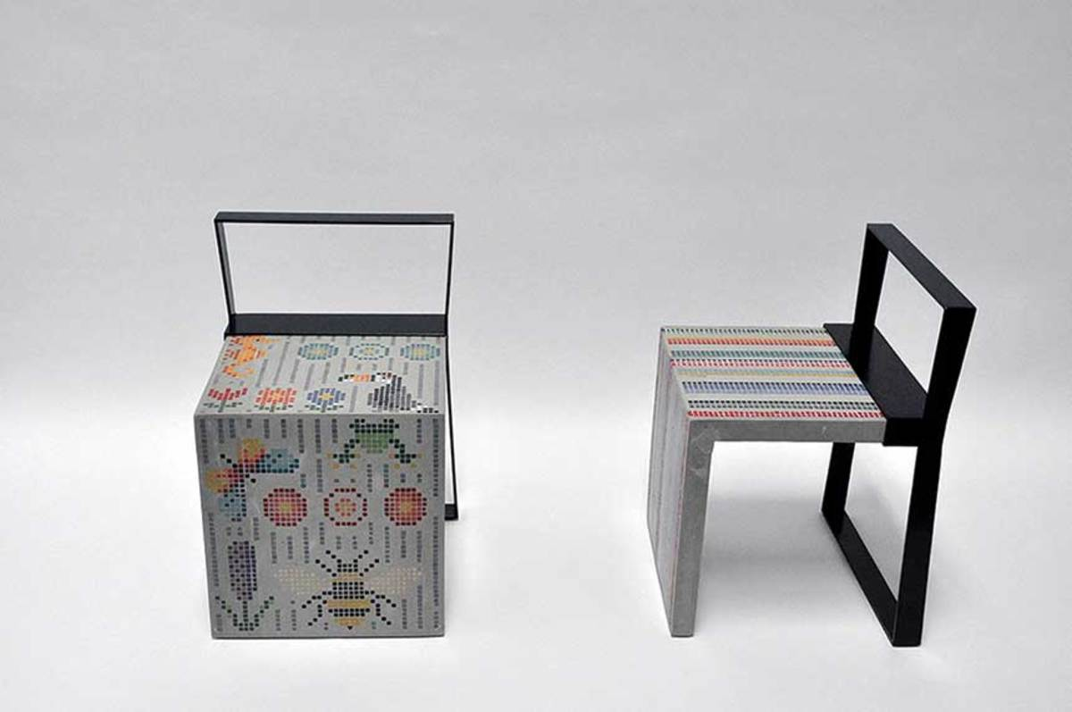 """Roots Chairs"" by Beatriz Mayorca, a mingle between concrete, glass mosaic and metal."