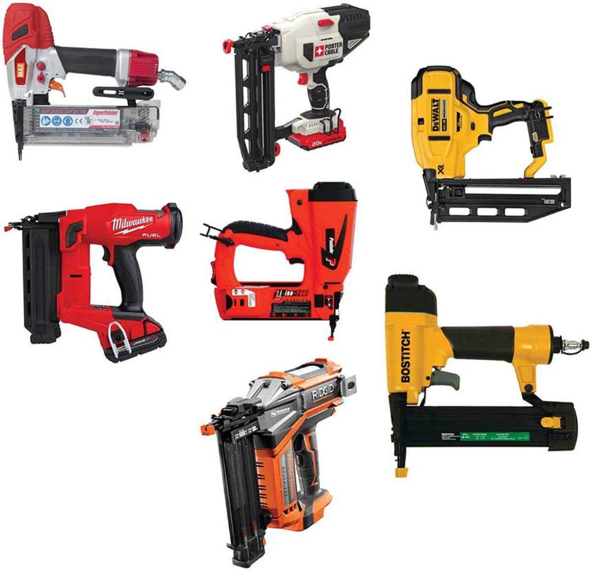 (Top row, from left) The SuperFinisher from Max USA; Porter-Cable's cordless 16-gauge nailer, and DeWalt's DCN662B.   (Second row) Cordless 18-gauge brad nailers from Milwaukee and Paslode.   (Third row) Ridgid's HyperDrive brad nailer and the Bostitch SB-2IN1.