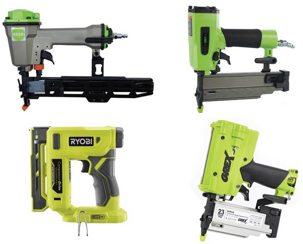 """(Clockwise from top left) The Cadex V3/90.40 stapler; Grex GC1850 18-gauge nailer and GCP650 pinner, and Ryobi P317 3/8"""" stapler."""