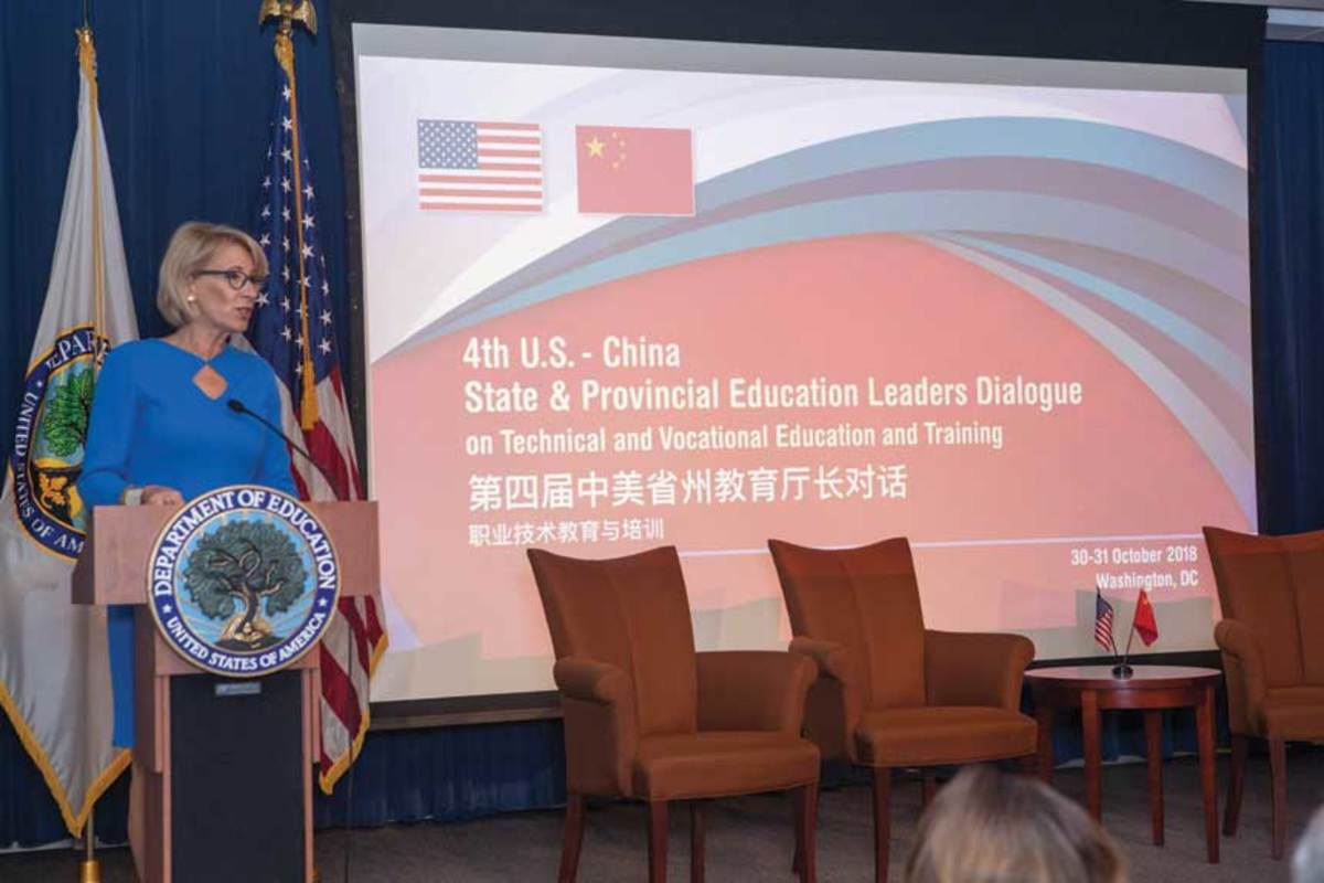 Education Secratary Betsy DeVos addresses the two-day Career and Technical Education summit in Washington, D.C.