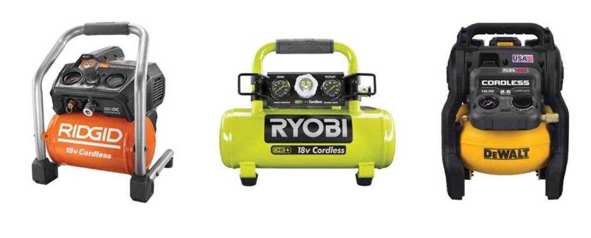 Ridgid's 18-volt compressor, model R023, Ryobi's model P739, DeWalt's 60-volt model DCC2560T1.