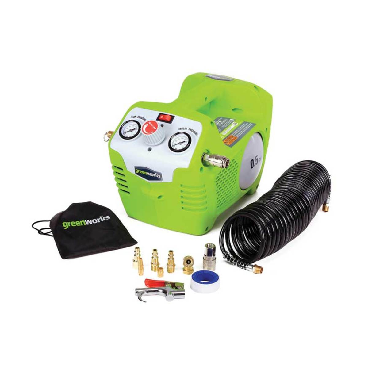 Greenworks (greenworkstools.com) has a 40-volt compressor, model 4100102.