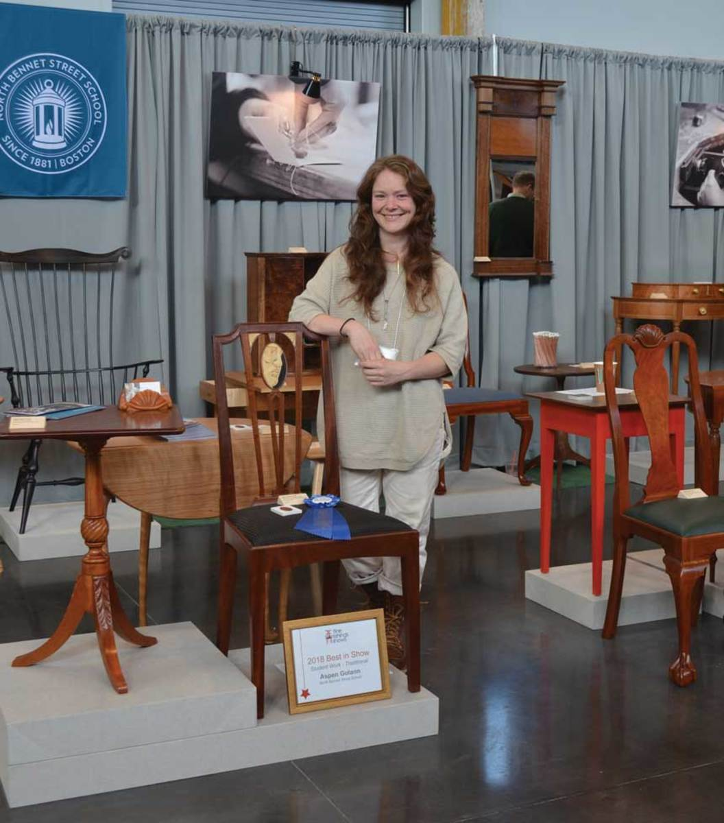 Aspen Golann and her side chair, winner of Best Traditional Piece.