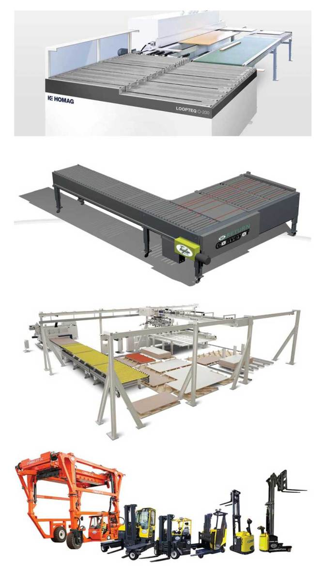 (From top) Homag's Loopteq 0-200, a workpiece return for edgebanders; a wide belt sander conveyor from James L. Taylor Mfg.; SCM's Flexstore el, a 3-axis automatic panel mover, and a range of forklifts available from CombiLift.
