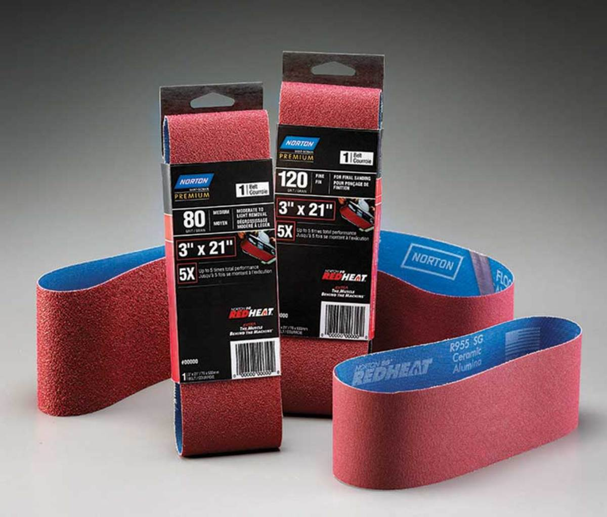 Red Heat ceramic alumina belts from Norton