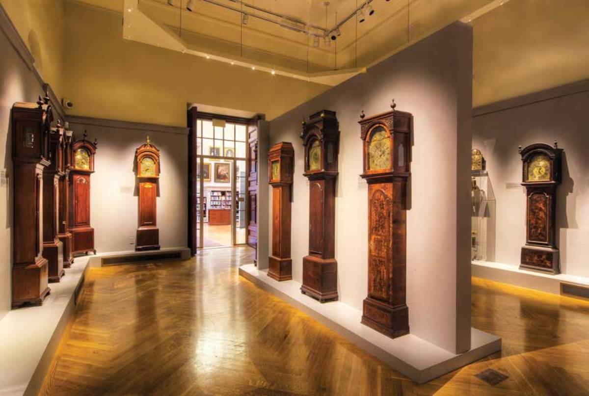 Redwood Library clock exhibit.