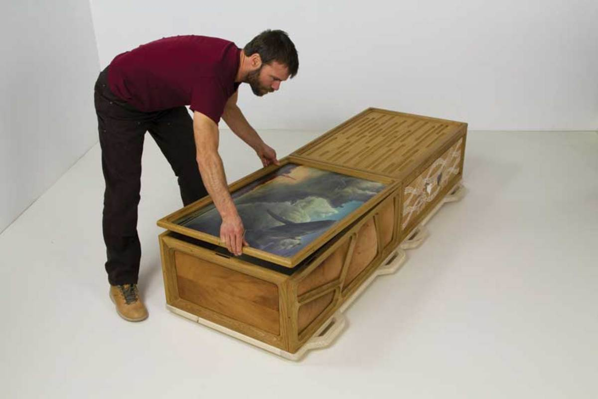 "The ""Boxes to Die For"" exhibition at the Messler Gallery includes this ""Art Box Casket"" by Tim Wigmore."