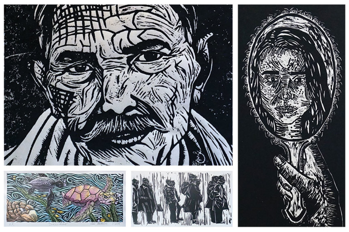 "(Clockwise, from top left) Ling Zheng's honorable mention entry; ""Looking Glass"" by Fernanda Arcos-Villareal; ""Selma"" by Morgan Evans; ""Zeeschildpad"" by Claire Hartemink, and ""Humbled Perspective"" (below) by Jeehae G. Young."