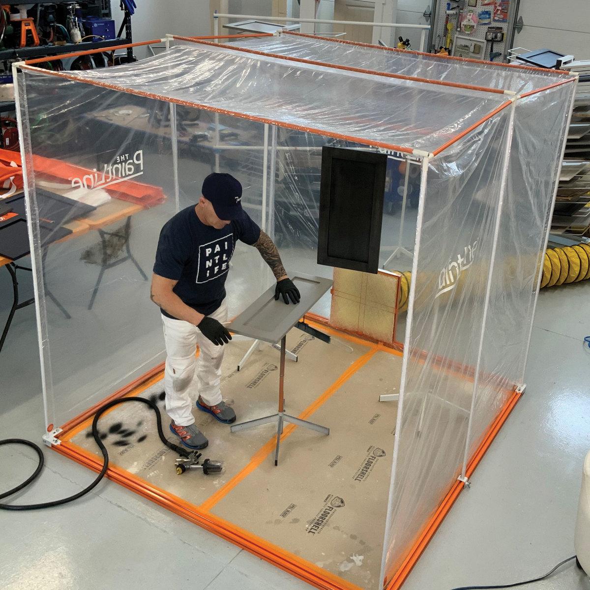 PaintLine's portable jobsite spray booth.
