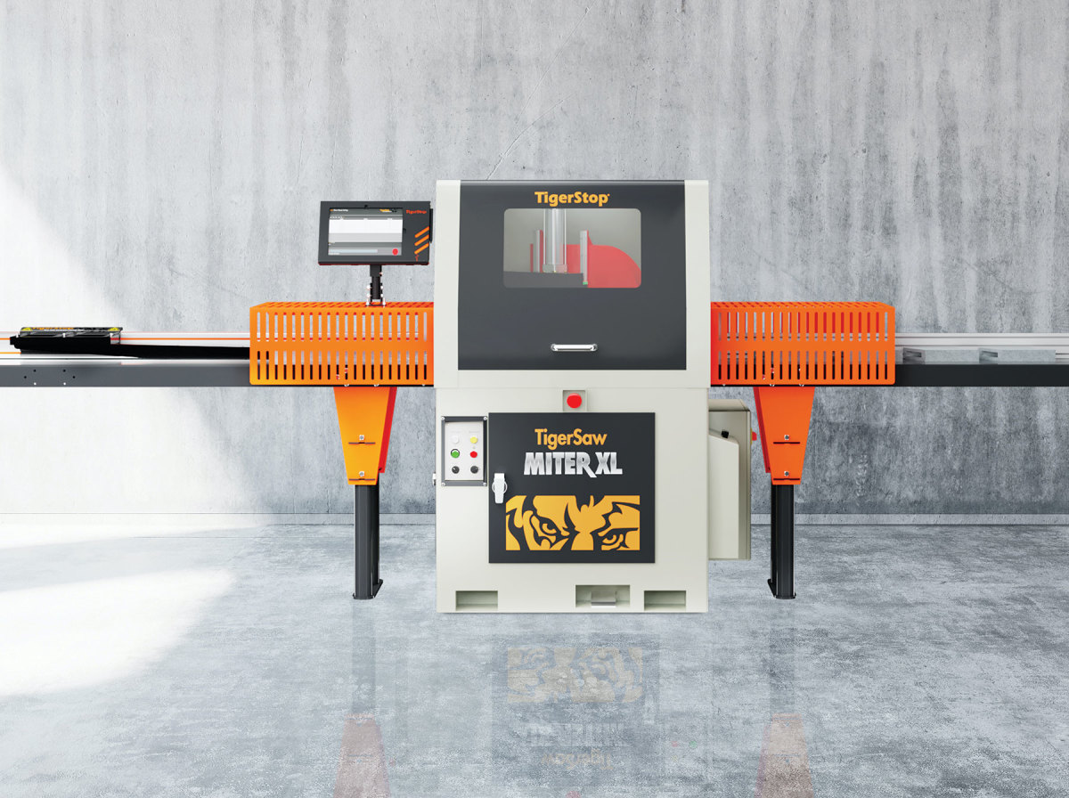 """The TigerSaw MiterXL is available with steel roller tables, plastic roller tables, and 10"""" tilted tables. Other accessories include the TigerTouch Tablet Package, extended pusher foot, and wireless barcode scanner kit."""