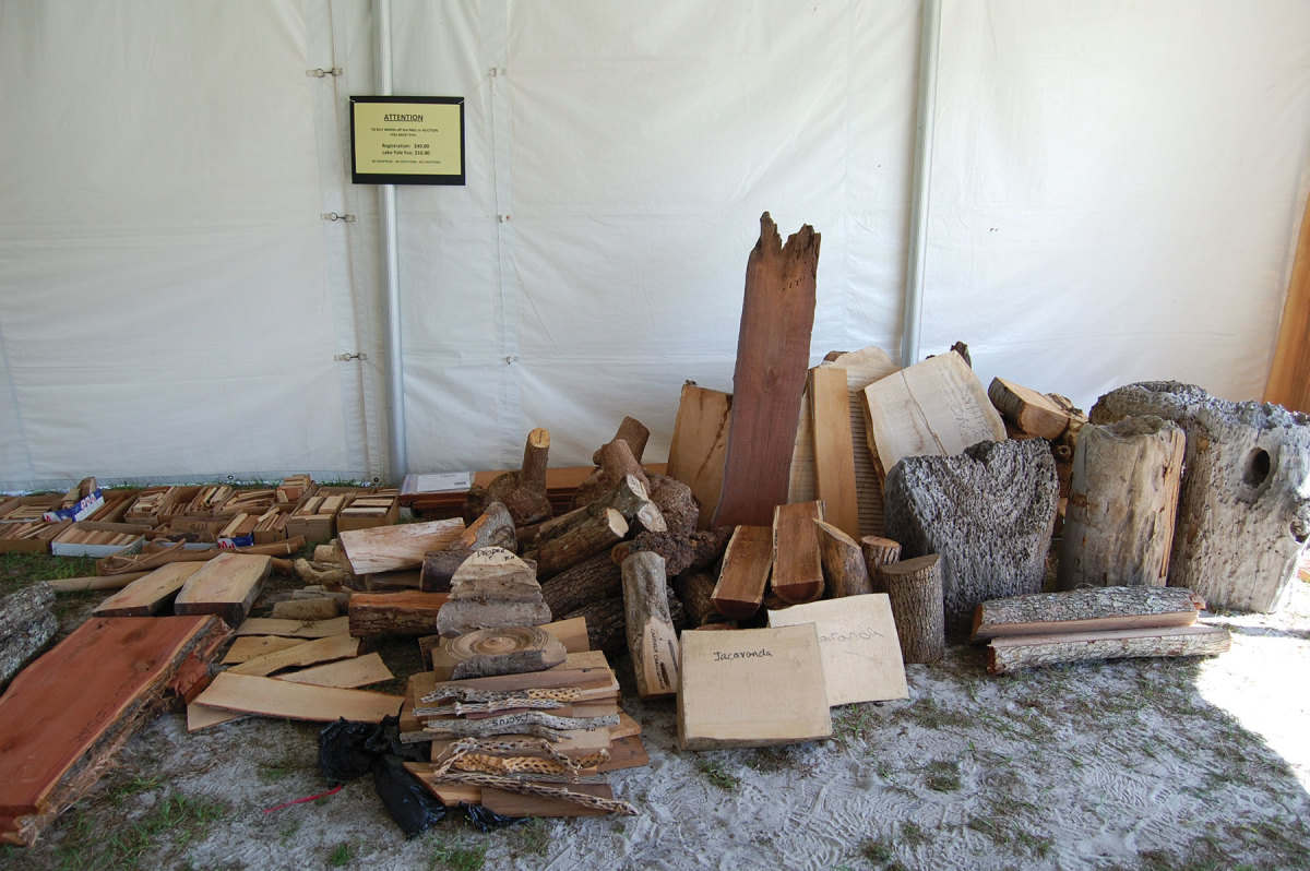 A collection of wood for auction at a recent meeting
