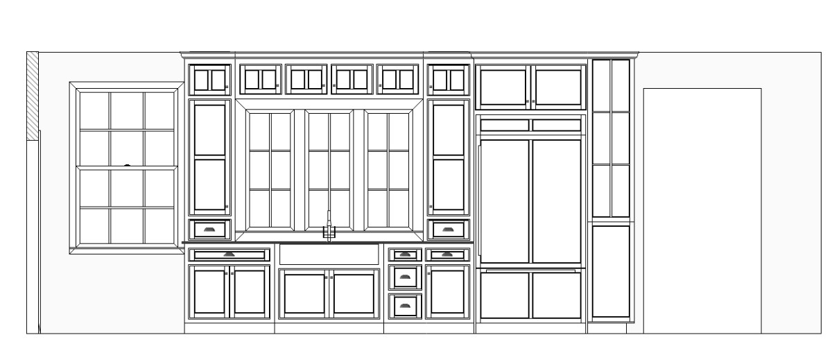 Elevation of kitchen without dimensions. KCD Software offers multiple levels of dimensioning.