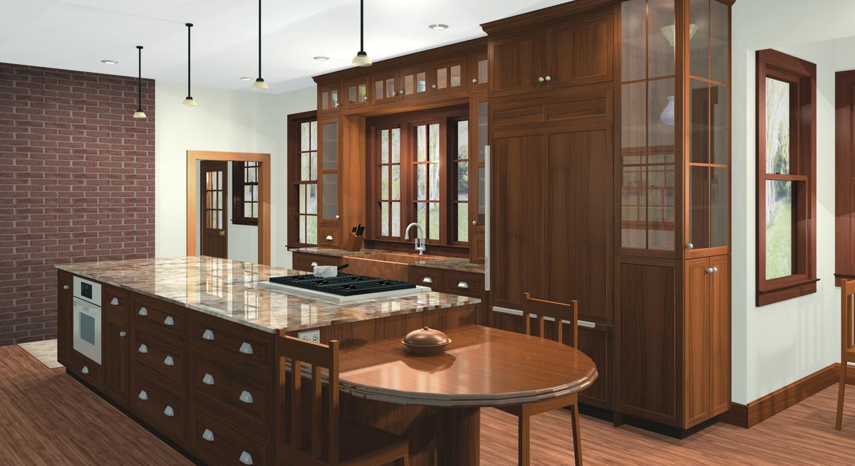 Actual KCD Software 3D rendering of elegant kitchen.
