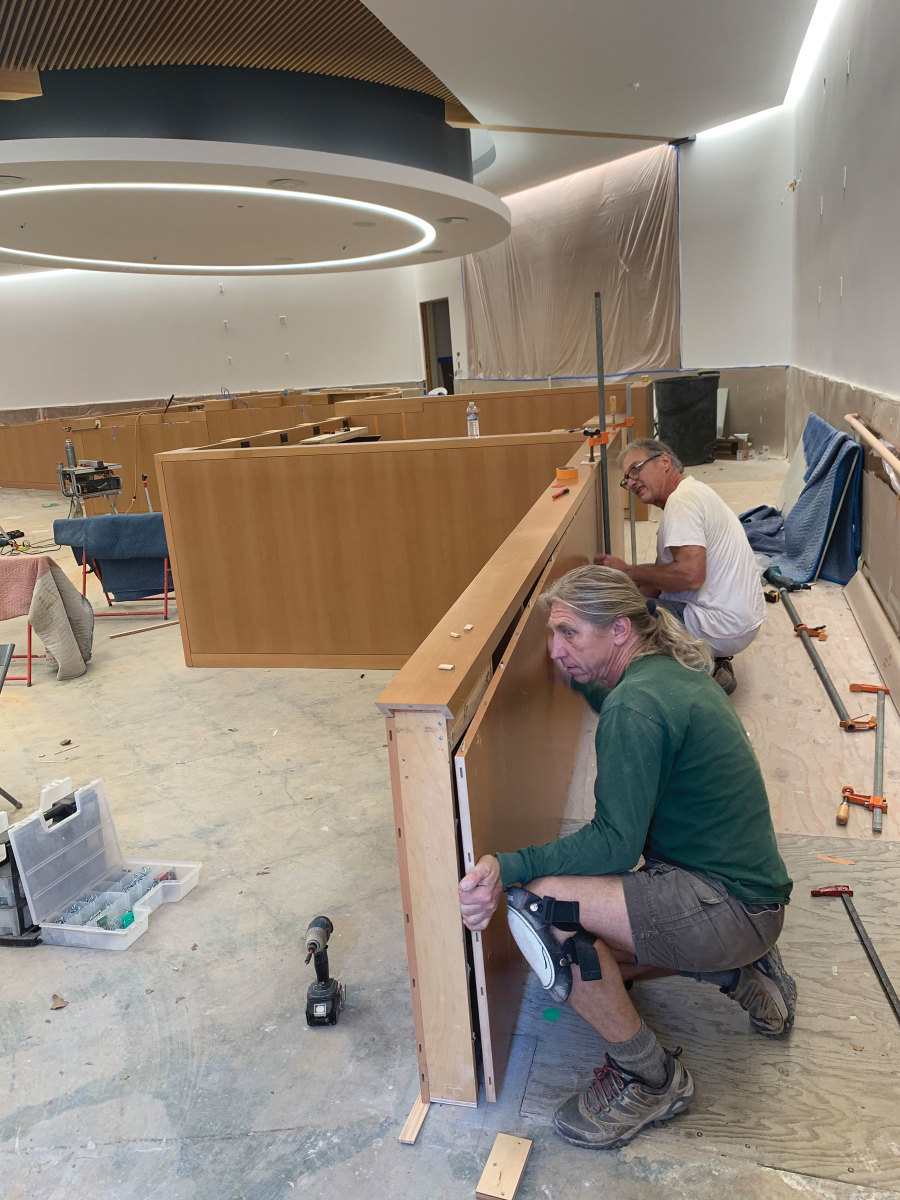Installation day at the Antioch City Hall Chambers.