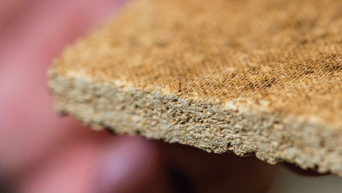 Particleboard with cellulose nanofibrils as a binding agent, a technology patented by the University of Maine.