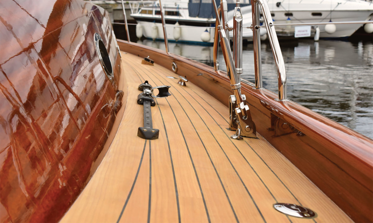 Lignia, a modified softwood, installed on a  yacht.