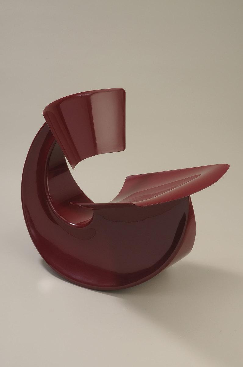 """Fuller Craft Museum's seating exhibit includes Vivian Beer's """"Red Rocker No. 2"""""""
