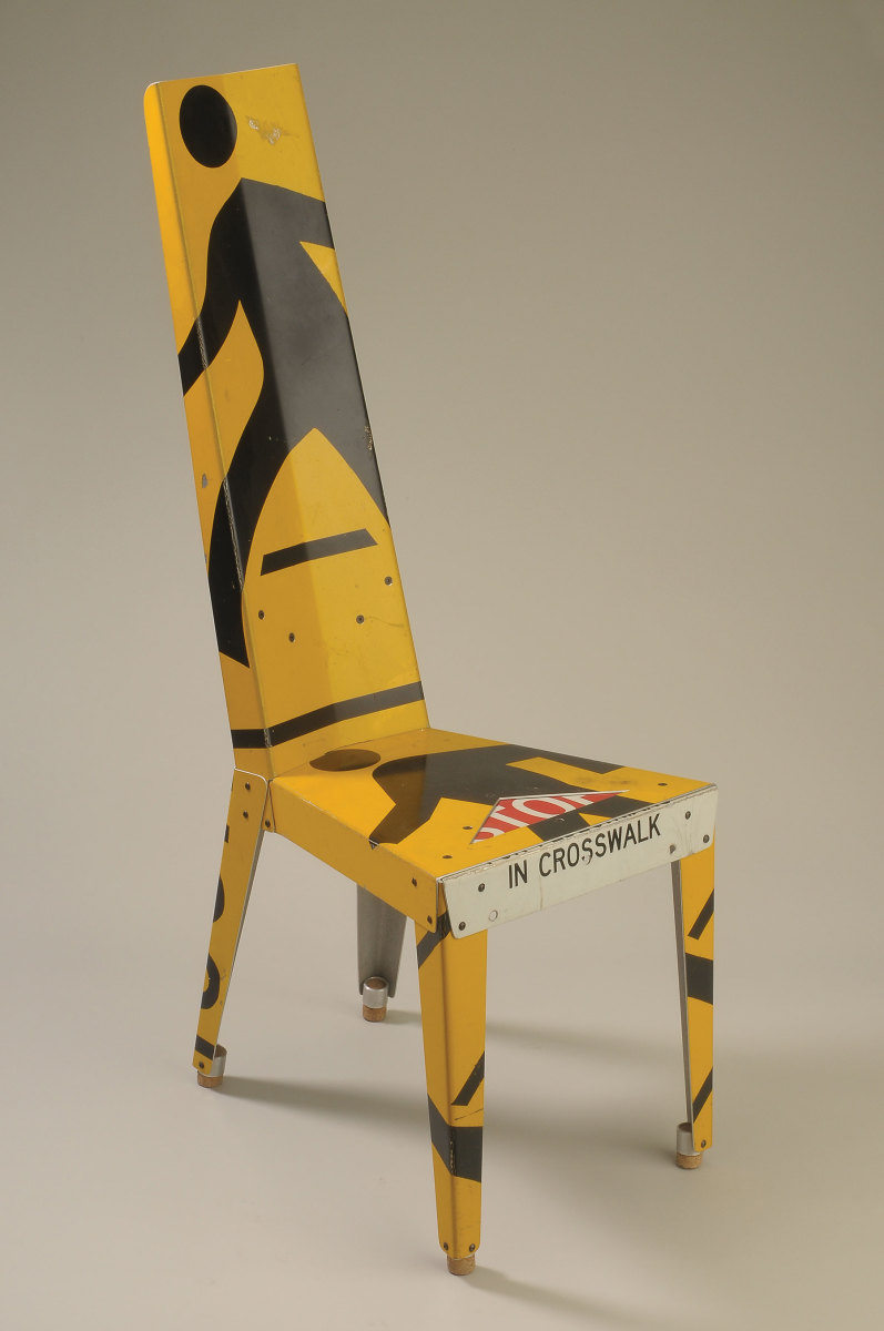 "Boris Bally's ""New Transit Chair - Man x 2"", made with recycled traffic signs, from its collection."