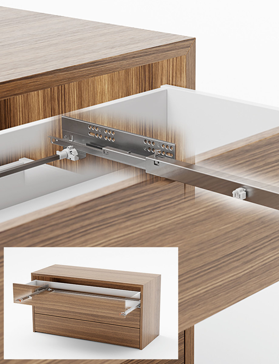 Salice's Futura Push Synchroniser allows drawers of any width to be opened with minimum effort.
