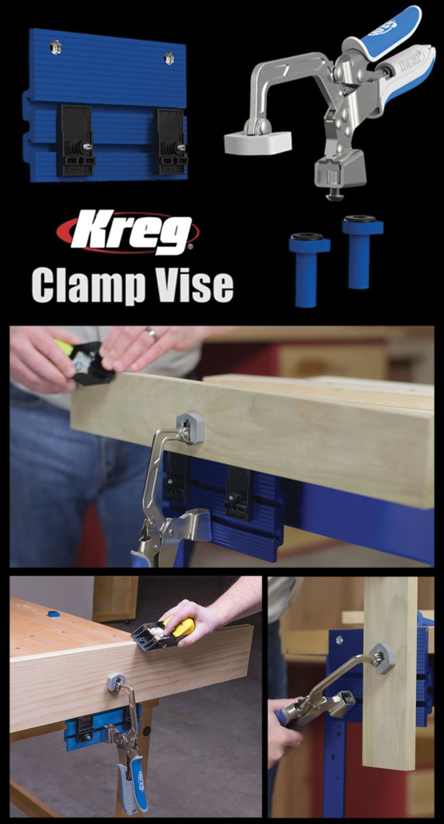 Kreg's Clamp Vise, which also holds work to the top of a  bench.