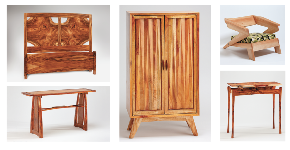 """Award-winning pieces from Hawaii's 2020 Woodshow (clockwise, from top left) included Michael Felig's first-place furniture piece, """"Sleeping with Rorschach""""; a cabinet by Nicole Gomes, the show's most promising young artist; Keola Annino's """"Paper Airplane"""" chair; Matthew Lund's accent table, """"Lana Lana Nani"""", and  Tai Lake's """"Nouveau Side Table""""."""